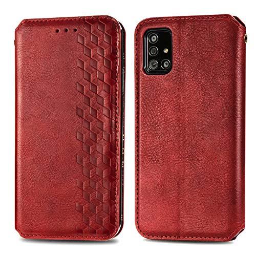 TOPOFU Funda para Samsung Galaxy A51, Carcasa Libro Piel de Cuero Cartera Case con Ranuras de Tarjeta, Soporte, Cierre Magnético Flip Case Cover para Samsung Galaxy A51 (Rojo)