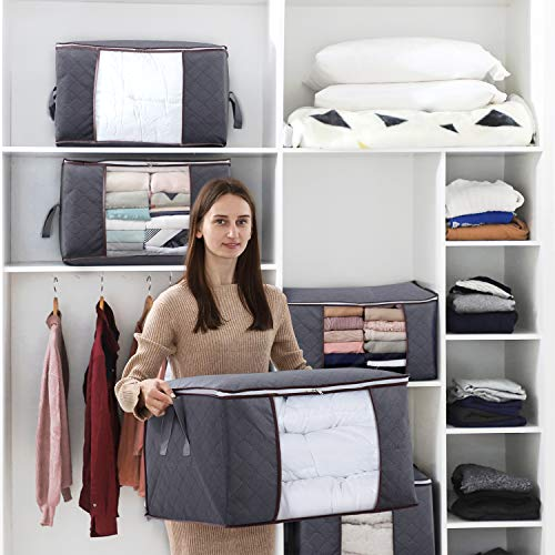 Blankets Comforters Lifewit Large Capacity Storage Bag with Reinforced Handle Upgrade Fabric for Clothes Grey Breathable Foldable Closet Organizer with Sturdy Zipper Clear Window Bedding 3 Pack