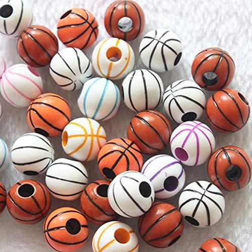 Egurs Perlen zum auffädeln Kinder Schmuck Bunte Basketball Muster Acrylperlen DIY Halsketten Kunsthandwerks für Junge Kinder,120 Stück