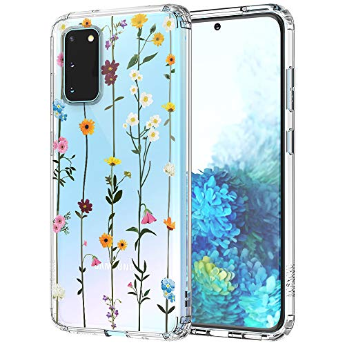 MOSNOVO Galaxy S20 Case, Wildflower Floral Flower Pattern Clear Design Transparent Plastic Hard Back Case with TPU Bumper Protective Case Cover for Samsung Galaxy S20