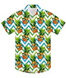 uideazone Teen Boys Hawaiian Luau Shirts 3D Printing Funny Pineapple Aloha Tops Summer Beach Short Sleeve Floral Party Tees Novelty Polo Apparel for Camp Holiday Casual Green Yellow
