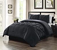 Grand Linen 2 Piece Twin Size Solid Black Double-Needle Stitch Puckered Pinch Pleat Stripe All-Season Bedding-Goose Down Alternative Comforter Set