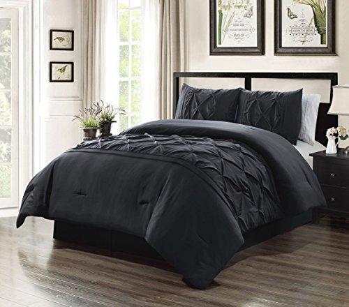 Grand Linen 2 Piece Twin Size Solid Black Double-Needle Stitch Puckered Pinch Pleat Stripe All-Season Bedding-Goose Down Alternative Comforter Set