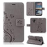 betterfon | Nokia 5.3 Hülle Handy Tasche Handyhülle Etui Wallet Hülle Schutzhülle mit Magnetverschluss/Kartenfächer für Nokia 5.3 Blume Grau