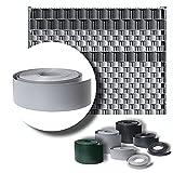 LeoDalm Sichtschutzstreifen für Doppelstabmatten Premium-PP (Polypropylen) 3D Zaun Stärke 1,7mm (9,5cm x 52m, Fenstergrau)