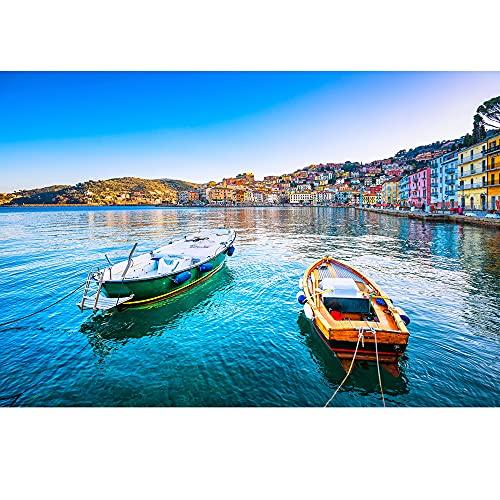 JMbeauuuty Rompecabezas de 1000 piezas Italia famosa ciudad europea puerto puerto paisaje, embarcaciones junto al mar, decoración del hogar para adultos juegos familiares 19.69 x 29.53 pulgadas