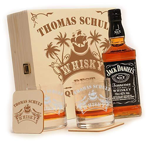 polar-effekt Whisky Geschenkset - 6-Teilig - Deutsche Herstellung - Jack Daniels No.7 Flasche - 2 Untersetzer - 2 Whiskygläser - personalisiert Motiv: Piratenschiff