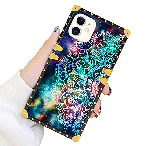 Square Case Compatible iPhone 11 2019 6.1 Inch Mandala in Galaxy Luxury Elegant Soft TPU Shockproof Protective Metal Decoration Corner Back Cover Case iPhone 11 Case