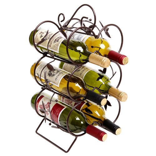 Decorative Wine Rack 6 Bottle Display Stand / Storage Organizer, Chocolate Brown - MyGift