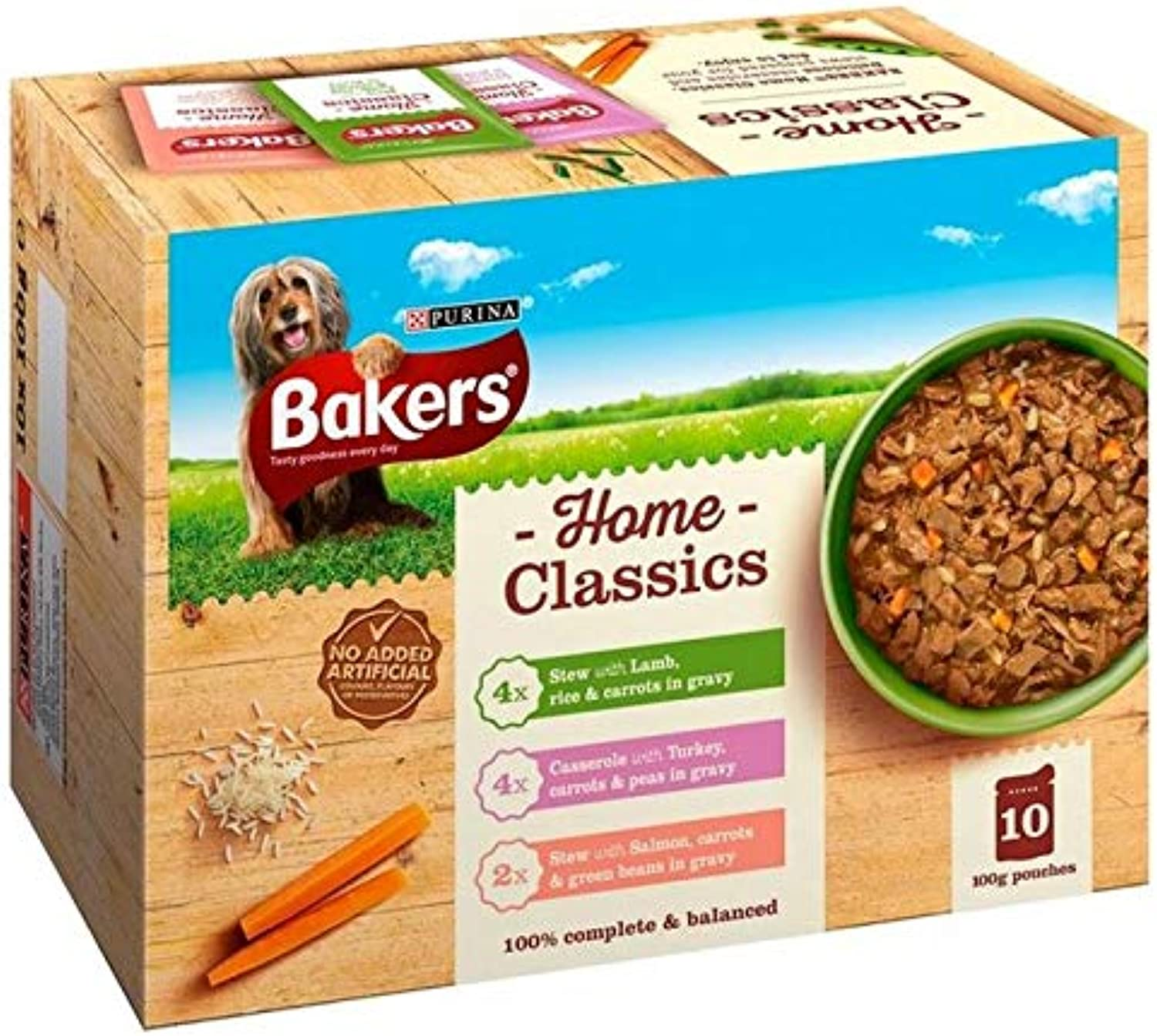 4X Bakers Home Classics Turkey, Lamb and Salmon 10 x 100g