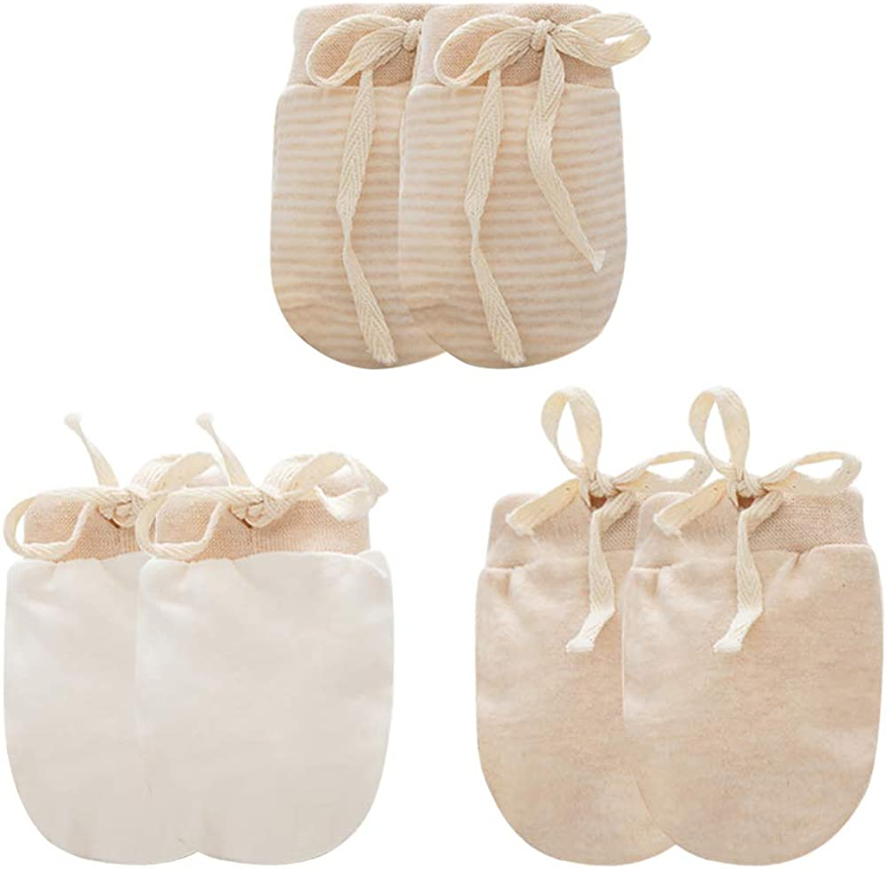3 High material Pack Baby Organic Cotton Gloves Months Solid Newbo Striped Outstanding 0-6