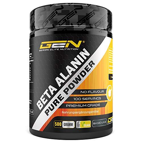 Beta Alanin - 500 g reines Pulver ohne Zusätze - +99% Reinheit - 100% Beta Alanine Aminosäure - Laborgeprüft - Vegan - German Elite Nutrition