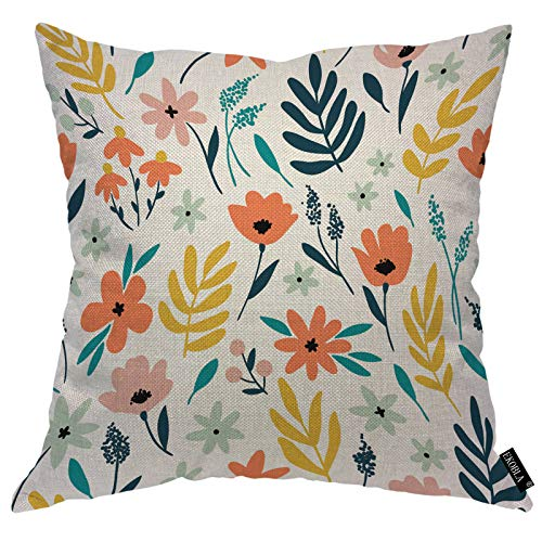 EKOBLA Floral Throw Pillow Covers Spring Flowers Leaves Garden Plant Flourish Nature Garden Pink Blue Decorative Square Cushion Case for Merry Christmas Men Women Home Decor Cotton Linen 16x16 Inch