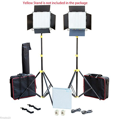 CAMTREE Professional 2pcs 1000 High-Power White LED Light Panel Kit   Dimmable Light for Studio Photography Wedding DSLR Video Cameras + Accessories + Bags (C-1000-W-2)