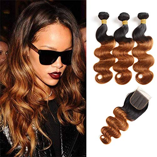 Ombre Brown 1B/30 Bundles with Closure Body Wave Virgin Hair 3 Bundles With 4X4 Lace Free Part Wet Wavy Brazilian Hair Remy Human Hair Extension (14 16 18 +12 Closure)