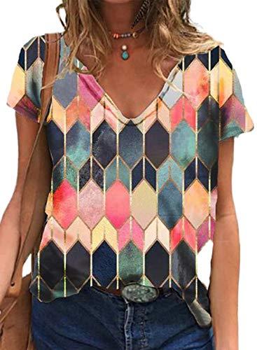 Mujeres Casual Túnica Tops Camisa con Cuello en V Manga Corta Camiseta básica Reloj geométrico Bloque Pullober Blusa de Verano