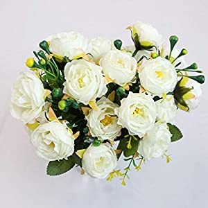 PLAN LIFE Artificial Flowers Silk Small Peony with Gypsophila 20 Heads Fake Flowers Elegant Home, Office, Wedding, Garden Decoration, Pack of 2 – Small Peony (White)