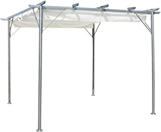 Tidyard Pergola with Retractable Roof Outdoor Canopy Pool Garden Patio Gazebo Cream White 3x3 m Steel