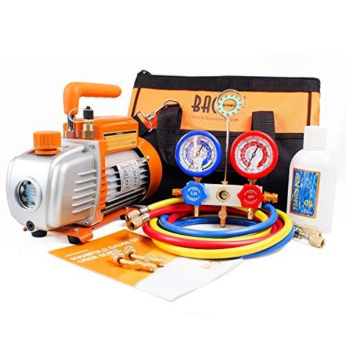 BACOENG Pompa Vuoto 85 Lt/min con Manometro Collettore, Kit carica e vuoto, per HVAC/Ricarica Automatica del Refrigerante CA, R410A R134a R407C R22