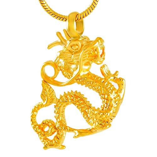 QQJJSUDIW Joyas de cremación Colgante de dragón Collar de Cenizas crematorias Joyas de cremación Mujeres Hombres-A