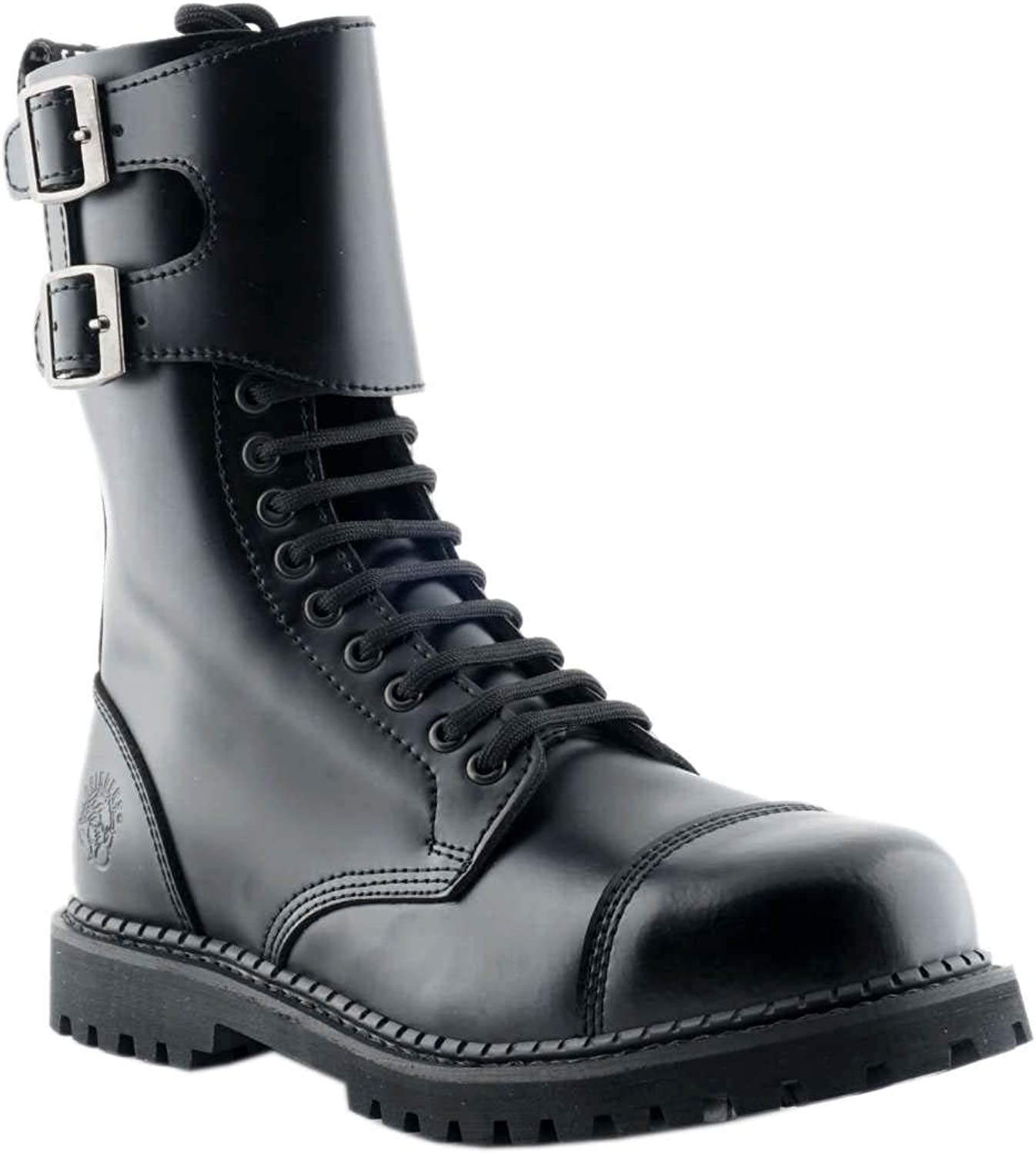 Smart Range Grinders Camelot CS Black 14 Eyelet Twin Buckle Unisex Safety Steel Toe Boots