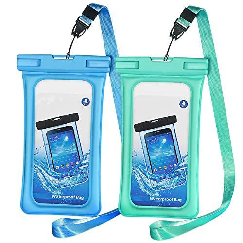 Depory - Juego de 2 Fundas Impermeables para teléfono móvil, Impermeables, para iPhone XS/X/8/7 P30/P20/P10, Color Azul y Verde