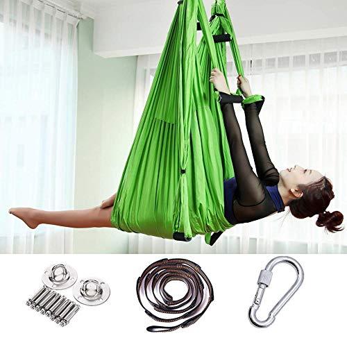 ShySBV hangmat, 2,5 x 1,5 m, aerial yoga, anti-gravity-nylon, Flying Pilates Gym om aan het plafond op te hangen Groen