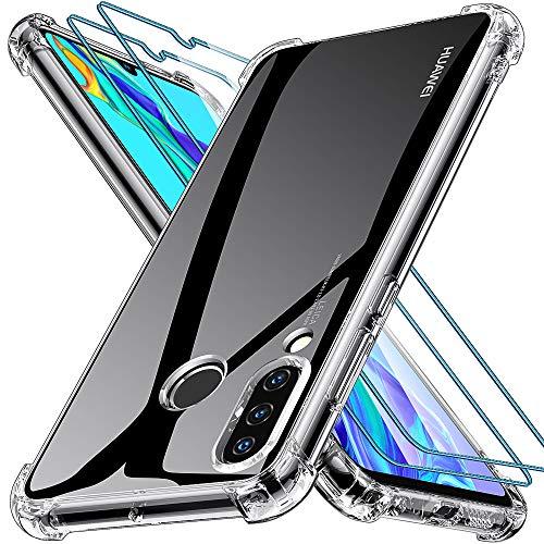 Joyguard Huawei P30 Lite Hülle [2 Stück Panzerglas], Huawei P30 Lite Handyhülle Transparent [Anti-Kratzer] [Schock-Absorption] Soft TPU Silikon Huawei P30 Lite Hülle - Klar
