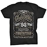 ShirtInvaders 75th Birthday Shirt for Men - Classic 1946 Aged to Perfection - Black-001-XL