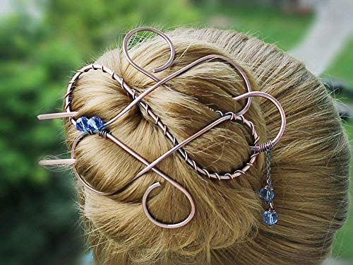 Large Celtic Hair Clip Bun Holder Hair Slide Hair Fork For Long Thick Hair,Copper Jewelry