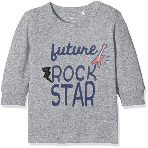 Name It Nitgelle Ls Top M NB T-Shirt À Manches Longues, Gris (Grey Melange), 74 Bébé garçon