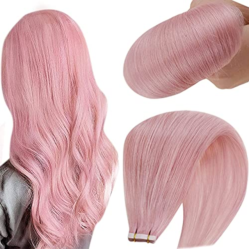 Hetto Tape in Hair Extensions,Lilac Human Hair Glue in Extensions Double Sided Lilac Hair Extensions Tape in Human Hair Extensions Skin Weft Tape on 12 Inch 20g