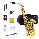 Eastrock Alto Saxophone Eb E-Flat, Instrument à Vent Laqué Doré, pour étudiants et Débutants. Livré avec Coffret, Embouchure et Tapis, Outils de Nettoyage, Chiffon à Alcool, Or