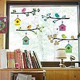 WandSticker4U®- Fensterbilder niedliche Vogel Familie I