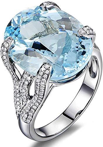 necklace Collana Moda Donna Aquamarine Diamante Blu Solido 14K Bianco Insieme Anello d'oro, Formato dell'anello: t Sollevamento