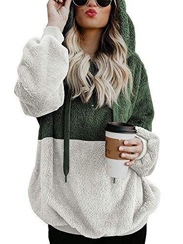 Romanstii Damen Winter Sweatshirt Reißverschluss V-Ausschnitt Teddy-Fleece Langarm Oversize Pullover mit Tasche