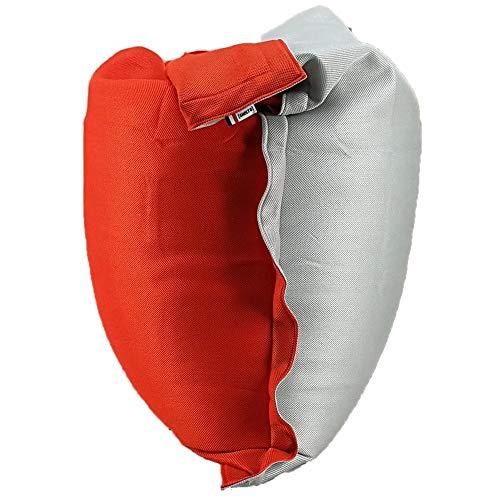 SHELTO - Pouf Shelto – Intérieur / Extérieur / Piscine – Ergonomique - Made In France - 125 X 175 cm – Colori Gris Cloud / Orange