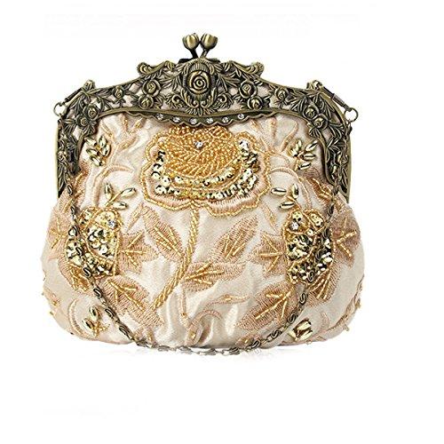 Flada damas y mujeres Vintage lentejuelas bolso hecho a mano cuentas de noche de fiesta de boda de baile de graduación de oro
