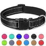 Joytale Reflective Dog Collar,Padded Breathable Soft Neoprene Nylon Pet Collar Adjustable for Medium Dogs,M,Black