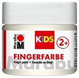 Marabu 03030050070 - Kids Fingerfarbe weiß 100 ml, Fingermalfarbe auf Wasserbasis, parabenfrei,...