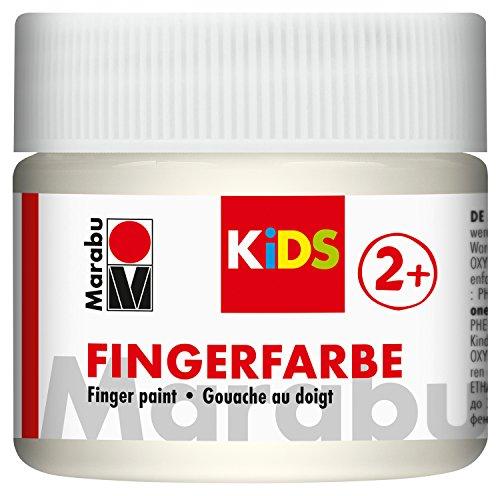 Marabu 03030050070 - Kids Fingerfarbe weiß 100 ml, Fingermalfarbe auf Wasserbasis, parabenfrei, vegan, laktosefrei, glutenfrei, geeignet zum Malen in Kindergarten, Schule, Therapie und zu Hause