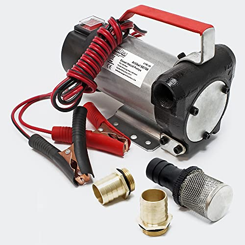 WilTec Bio Dieselpumpe Heizölpumpe selbstansaugend 12V / 160W 40l/min Umfüllpumpe Absaugpumpe