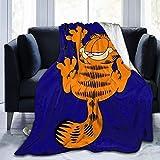 KINGAM Garfield - Manta de forro polar con diseño de gato de dibujos animados. Manta de felpa súper suave para ropa de cama de invierno o sofá