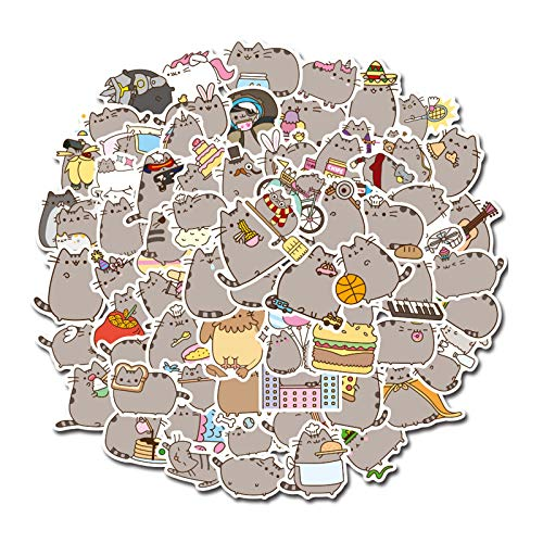 ZXIAQI Fat Cat Stickers Decals 100pcs Cute Waterproof Aesthetic Trendy Stickers for Teens, Perfect for Laptop Hydro Flask Skateboard Travel - Durable Vinyl