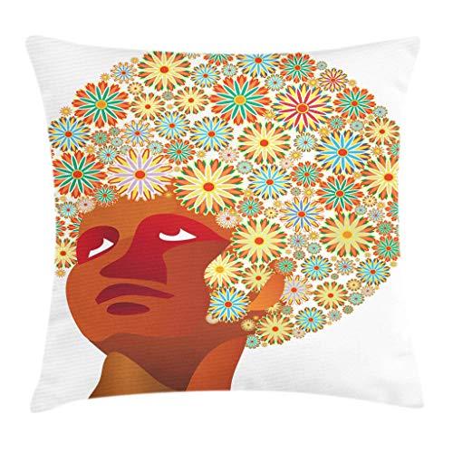 Afrikanischer Kissenbezug, Kopf n Mann mit Blumenstrauß auf dem Haar Hippie Fashion Print, gelber Rubin