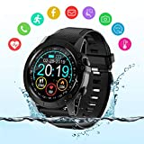 BYTTRON Smart Watch, Full Touch Screen IP68 Waterproof Bluetooth Fitness Tracker GPS Running Watch Activity Tracker Pedometer with Heart Rate Sleep Tracking Camera Control for Men Women