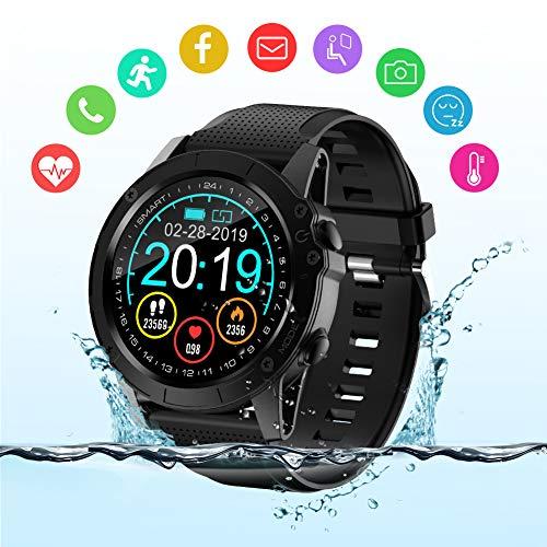 BYTTRON Smart Watch, Voll-Touchscreen IP68 Wasserdichter Bluetooth Fitness Tracker GPS Aktivitätstracker Schrittzähler mit Herzfrequenz Schlaf Tracking-Kamerasteuerung Smart Reminder für Herren Damen