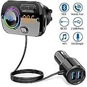 Bluetooth FM Transmitter 5.0 Auto Radio Adapter mit Dual USB Ports (QC3.0/2.4A) Freisprecheinrichtung mit Mikrofon Unterstützt Siri Google, 7 Farbe LED Backlit, TF Karte Aux Bluetooth MP3 Kit-Schwarz