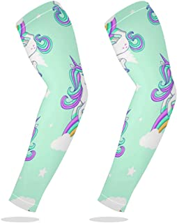 Sports Compression Arm Sleeve Cooling Sun Protection for Baseball Basketball Football Running Driving Cycling for Boys Youth Girls Kids Men Women with Rainbow Clouds Unicorn - 1 Pair