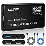4K 60FPS HDMI Video Capture-Card, USB 3.0 Game Capture Card HDMI Loop-Out 1080P 60fps, OBS Live Streaming Game Recorder Device for PS4, Switch, Xbox One, Xbox 360 and More(Black)